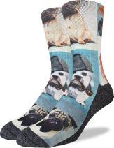 Good Luck Sock Men's Dashing Dogs Crew Socks - Black, Adult Shoe Size 8-13
