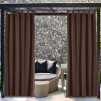 TWOPAGES Extra Wide Blackout Outdoor Tab Top Curtain for Front Porch, Waterproof Drape for Cabana (1 Panel, 100 Inches Wide by 96 Inches Long)