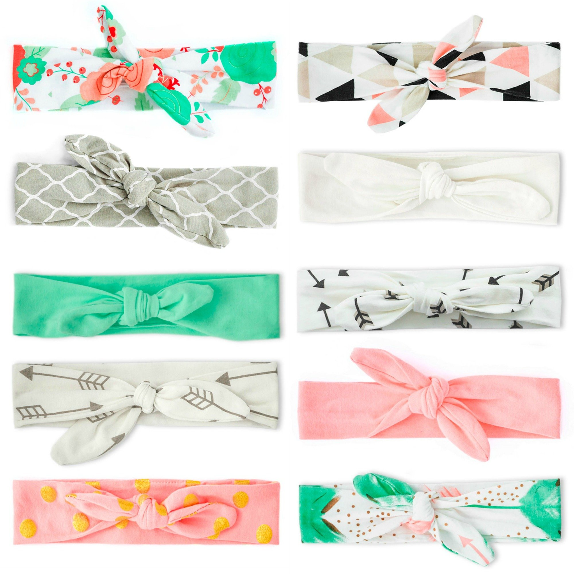 JLIKA Baby Girl Headbands 10 Pack Toddler Cotton Knotted Newborn Headband Headwrap Bows Hair Accessories
