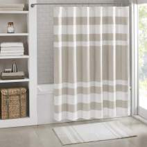 Madison Park Spa Waffle Shower Curtain Pieced Solid Microfiber Fabric with 3M Scotchgard Water Repellent Treatment Modern Home Bathroom Decorations, Wide 108X72, Taupe