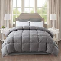 IGI All-Season Gray Down Quilted Comforter with 100% Cotton Cover and Premium Quality Goose Duck Down Feather Filling-Duver Insert or Stand Alone-4 Corner Loops-Full Size(82×86 inch)