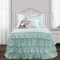 Lush Decor Aqua Allison Ruffle Skirt Bedspread Shabby Chic Farmhouse Style Lightweight 2 Piece Set Twin XL