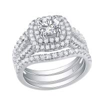 Newshe Wedding Rings for Women Engagement Set Blue Sapphire Sterling Silver White Cz 3Pcs Size 5-12