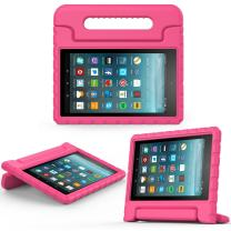 MoKo Case for All-New Amazon Fire 7 Tablet (7th Generation, 2017 Release Only) - Kids Shock Proof Convertible Handle Light Weight Super Protective Stand Cover for Fire 7, Magenta