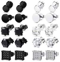 FIBO STEEL 10 Pairs Stainless Steel Stud Earrings for Men Women Ear Piercing Ear Plugs Tunnel Ear Piercing Earrings Cubic Zirconia Inlaid,6-10 mm