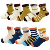 10 Pairs Toddler Cartoon Cotton Crew Socks for Kids Boys Girls 1-12 Years