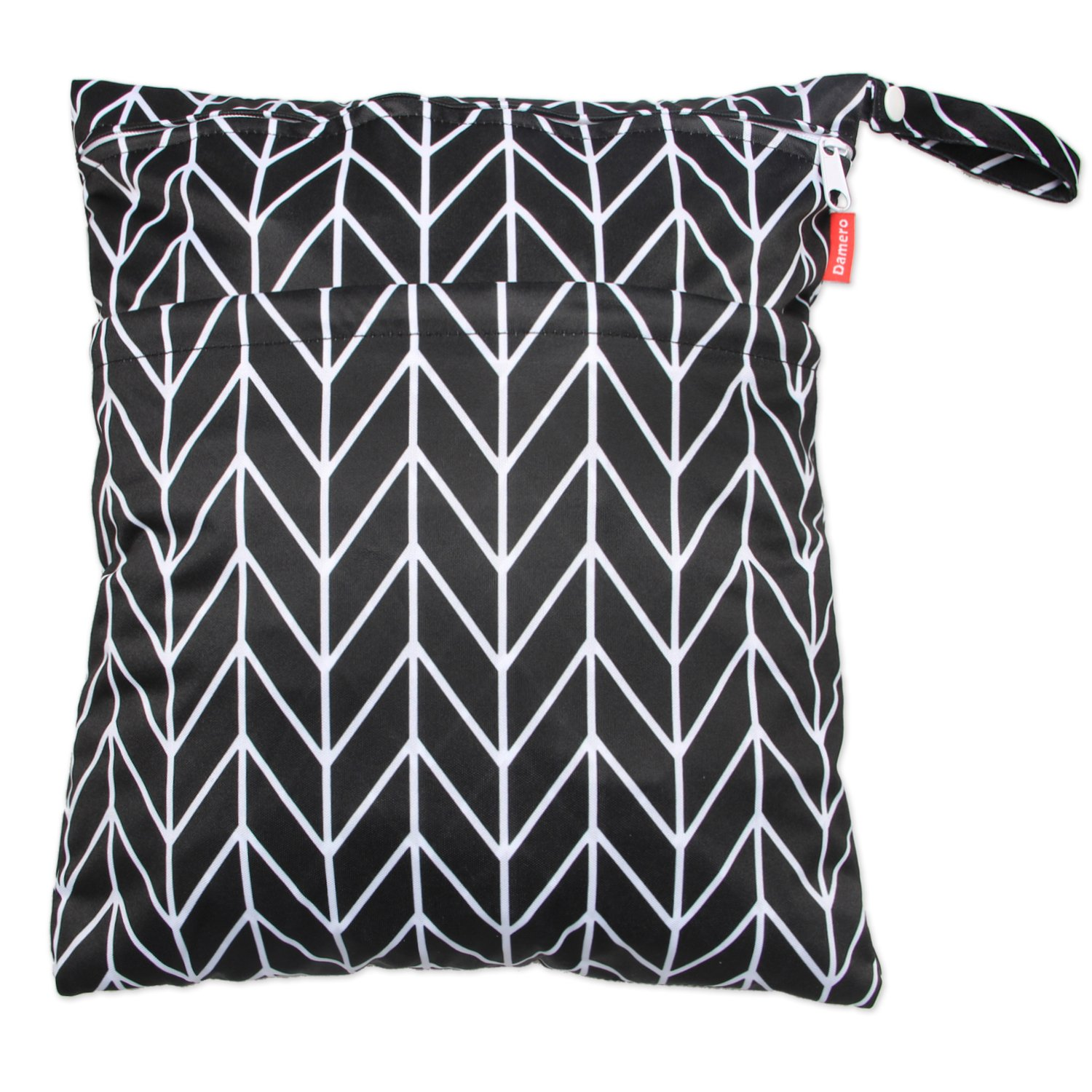 Damero Travel Wet and Dry Bag with Handle for Cloth Diaper, Pumping Parts, Clothes, Swimsuit and More, Easy to Grab and Go (Large, Black Arrows)