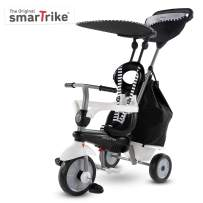 smarTrike Vanilla Plus Toddler Tricycle for 1,2,3 Year Olds - 4 in 1 Multi-Stage Trike, Black & White