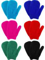 6 Pairs Winter Warm Knitted Mittens Gloves Stretch Mittens for Christmas Party Kids Toddler Supplies