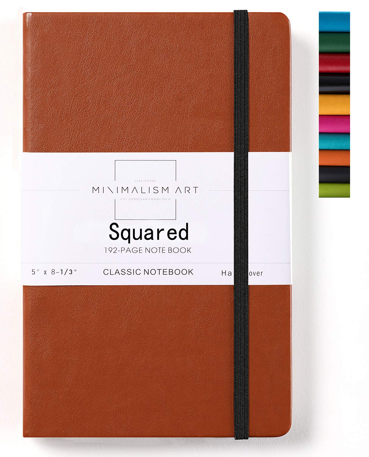 Minimalism Art, Classic Notebook Journal, A5 Size 5 X 8.3 inches, Brown, Squared Grid Page, 192 Pages, Hard Cover, Fine PU Leather, Inner Pocket, Quality Paper-100gsm, Designed in San Francisco