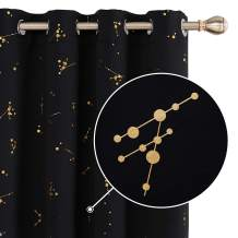 Deconovo Blackout Curtain Foil Printed Constellation Pattern Curtains Grommet Light Blocking Room Darkening Thermal Insulated Window Drapes for Living Room 2 Panel Black 52 x 63 inch