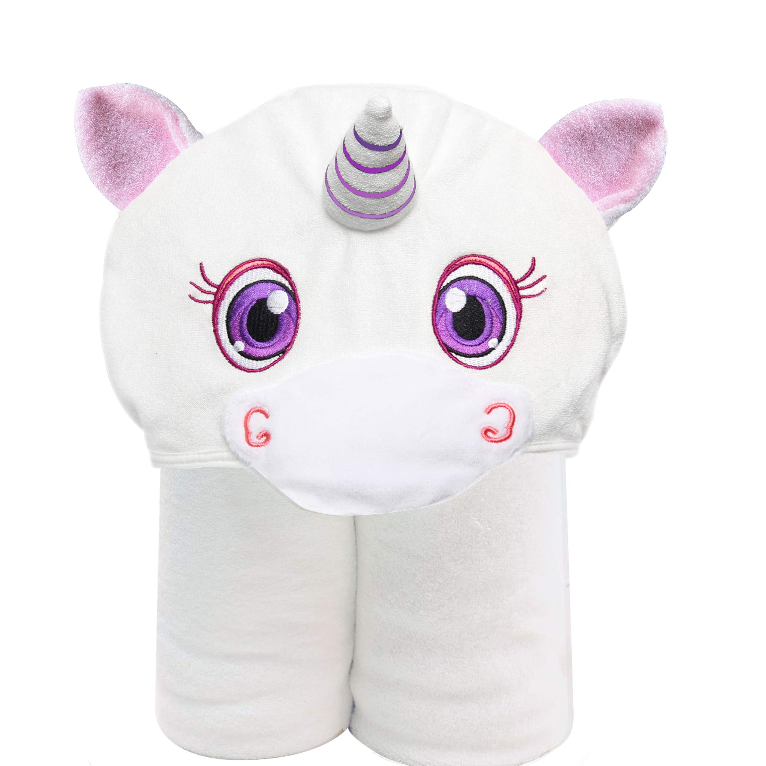 HIPHOP PANDA Luxury Bamboo Baby Hooded Towel for Girl- Softest Hooded Cute Pink Ear 3D Unicorn Bath Towel for Babie, Toddler,Infant - Ultra Absorbent and Soft, Perfect for Newborn Girl