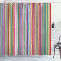"Lunarable Striped Shower Curtain, Colorful Vertical Stripes Geometric Arrangement Abstract Ornamental Line Desgin, Cloth Fabric Bathroom Decor Set with Hooks, 70"" Long, Vermilion Multicolor"
