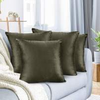 """Nestl Bedding Throw Pillow Cover 18"""" x 18"""" Soft Square Decorative Throw Pillow Covers Cozy Velvet Cushion Case for Sofa Couch Bedroom, Set of 4, Khaki"""