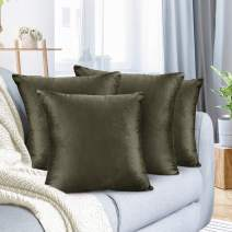 "Nestl Bedding Throw Pillow Cover 18"" x 18"" Soft Square Decorative Throw Pillow Covers Cozy Velvet Cushion Case for Sofa Couch Bedroom, Set of 4, Khaki"