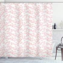 "Ambesonne Nature Shower Curtain, Pattern with Soft Spring Branches Flourishing Flowers and Leaves Feminine Print, Cloth Fabric Bathroom Decor Set with Hooks, 70"" Long, Coral White"