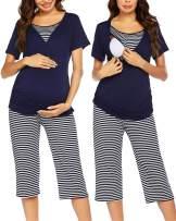 Ekouaer Delivery/Labor/Nursing Maternity Pajamas Capri Set for Hospital Home, Striped Capri, Adjustable Size