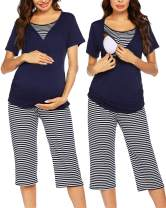 Ekouaer Delivery/Labor/Nursing Maternity Pajamas Capri Set for Hospital Home, Striped Capri, Adjustable Size