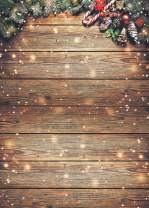 LYWYGG 5x7FT Christmas Backdrops for Photography Christmas Wooden Backdrop Snow Day Wooden Wall Photography Background Christmas Photo Backdrop Snow Backdrop CP-198