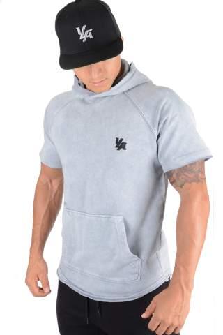 YoungLA Pullover Short Sleeve Hooded Sweatshirt Raw Edge Pockets 504
