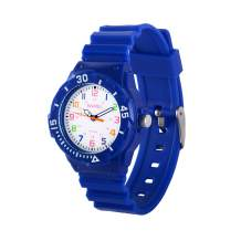 Wolfteeth Kids Watches Girls Boys Analog Quartz Watches 5ATM Waterproof 33mm Case 15mm PU Watchband Multicolor 3108