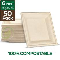 "100% Compostable Square Paper Plates [6x6 inch - 50-Pack] Elegant Disposable Plates Heavy-Duty Quality, Natural Bagasse Unbleached, Eco-Friendly Made of Sugar Cane Fibers, 6"" Biodegradable Plate"