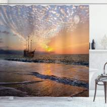 """Ambesonne Nautical Shower Curtain, Pirate Ship Sailing in Waves Fantasy in The Sea Horizon Moon Sky Surreal Scenery, Cloth Fabric Bathroom Decor Set with Hooks, 84"""" Long Extra, Pastel Orange"""