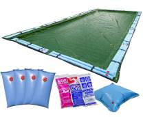 Buffalo Blizzard Ripstopper Green Winter Cover for 30-Foot-by-50-Foot Rectangle In-Ground or Above Ground Swimming Pools | 5-Foot Overlap | Winter Closing Kit Included