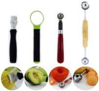 Lemon zester tool, Strawberry corer, Tomato core remover, Melon baller scoop, Avocado slicer pitter