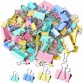 120Pcs Binder Clips - Paper Clamps Assorted Sizes, Paper Binder Clips, Metal Fold Back Clips with Box for Office, School and Home Supplies
