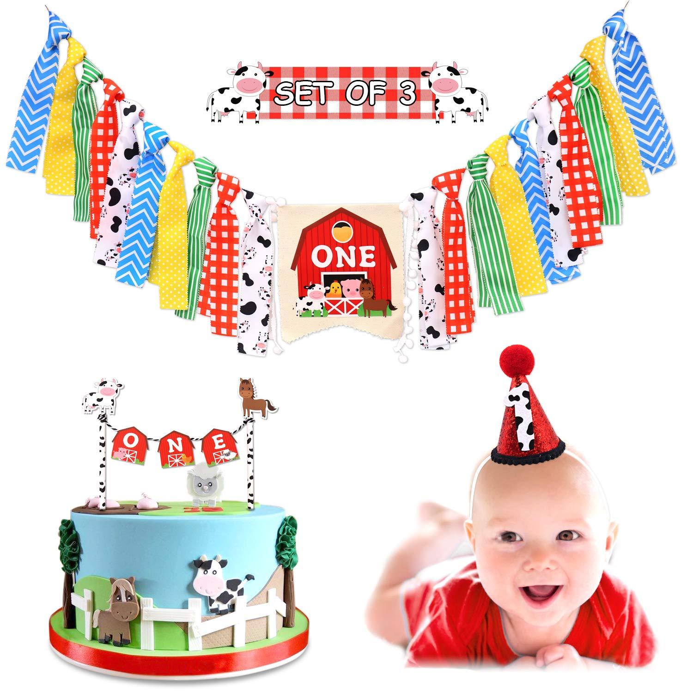 Vansolinne Farm Animal 1st Highchair Banner Barnyard Birthday Party One Cake Topper Cow Hat Supplies Cake Smash Milestone Photo Prop Garland Decorations
