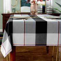 """Rectangle Tablecloth Plaid Style Polyester Table Cloth Spillproof Dust-Proof Wrinkle Resistant Heavy Weight Table Cover for Kitchen Dinning Tabletop (Rectangle/Oblong, 60"""" x 84"""" (6-8 Seats),Grey)"""