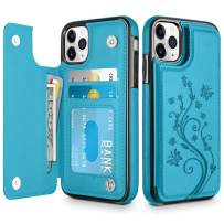 HianDier Wallet Case for iPhone 11 Pro MAX Slim Protective Case with Credit Card Slot Holder Flip Folio Soft PU Leather Magnetic Closure Cover for 2019 iPhone 11 Pro Max, Lake Blue