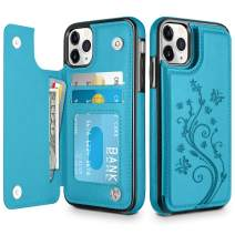 HianDier Wallet Case for iPhone 11 Pro Slim Protective Case with Credit Card Slot Holder Flip Folio Soft PU Leather Magnetic Closure Cover for 2019 iPhone 11 Pro, Lake Blue