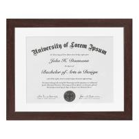 """Americanflat New Document Frame Mahogany with Tempered Shatter Resistant Glass for Wall - Acid Free - 11"""" x 14"""""""