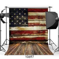 SJOLOON 5X7ft Veterans Day Backdrop Vinyl Fabric Photography Backdrops American Flag Patriotic Wood Floor for Studio 10697