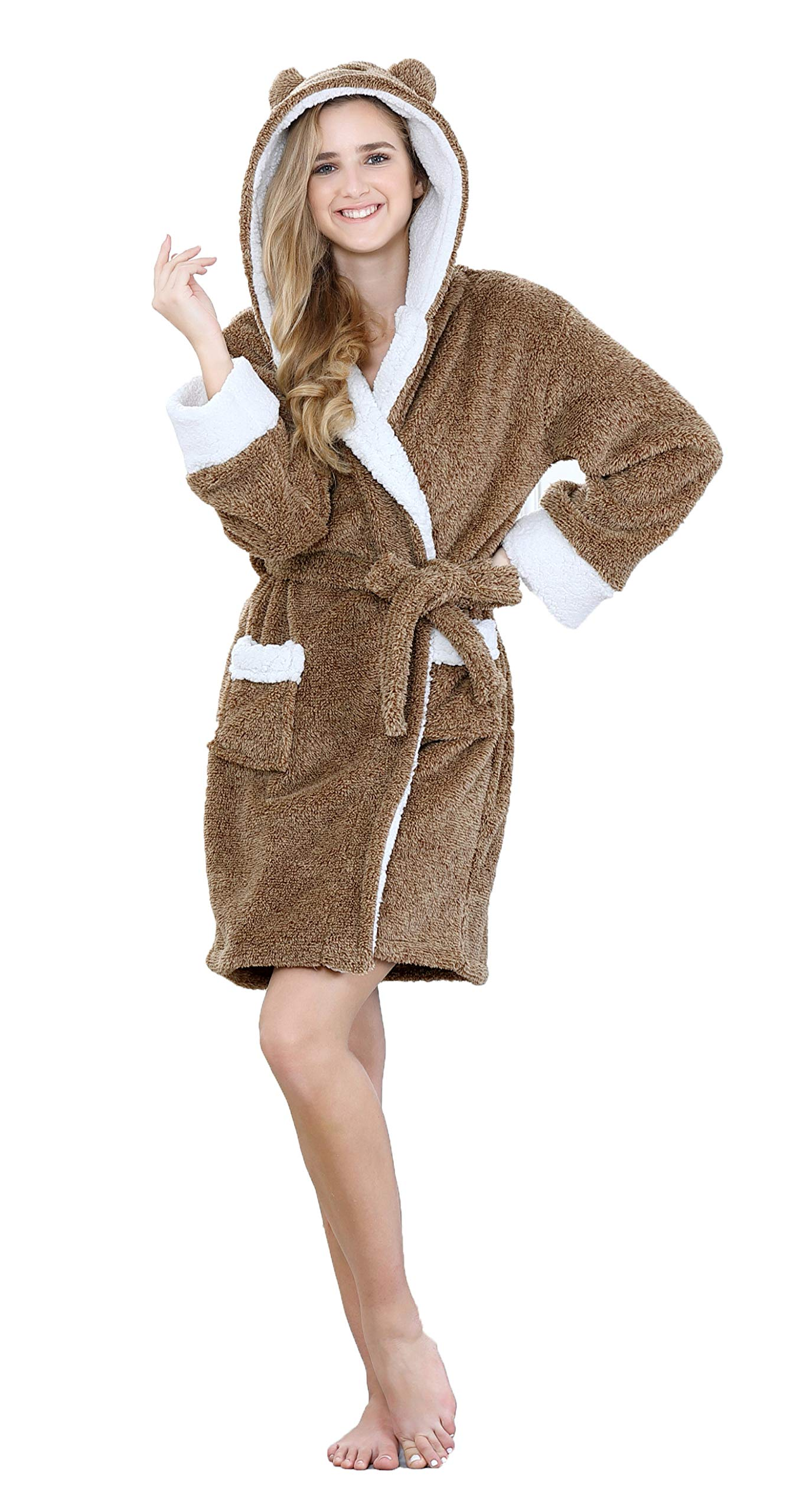 TIMSOPHIA Plush Robes for Womens Bathrobes with Hood Soft Animal Robes Cozy Warm Koala Gifts