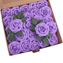 YSBER Roses Artificial Flowers - 25Pcs Big PE Foam Rose Artificial Flower Head for DIY Wedding Bouquets Centerpieces Bridal Shower Party Home Decorations (25 PCS, Purple)