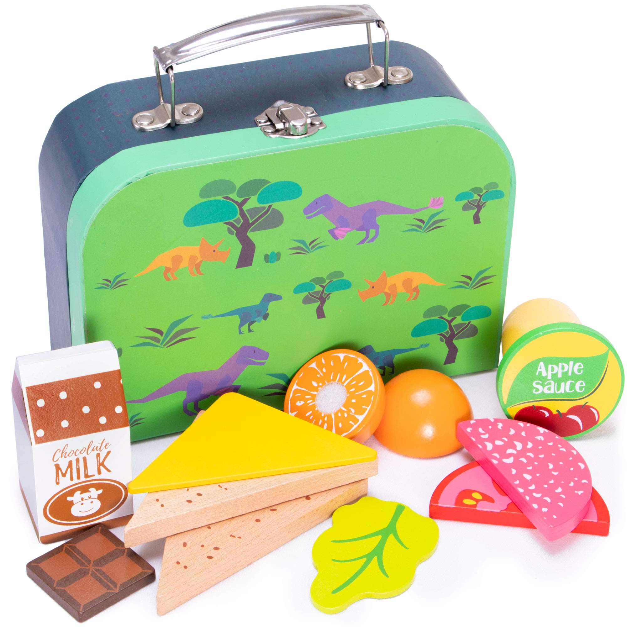Prehistoric Dinosaur Lunch Box Playset   Wood Eats! Pretend Play Food Toy   Includes Jurassic T-Rex Children's Accessory and Complete, Healthy, Wooden Meal For Travel and Kitchen Fun   12 Pieces