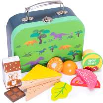 Prehistoric Dinosaur Lunch Box Playset | Wood Eats! Pretend Play Food Toy | Includes Jurassic T-Rex Children's Accessory and Complete, Healthy, Wooden Meal For Travel and Kitchen Fun | 12 Pieces
