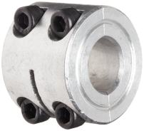 "Climax Metal D2C-087-A Two-Piece Clamping Collar, Double Wide, Aluminum, 7/8"" Bore, 1-5/8"" OD, 1 1/16"" Width"