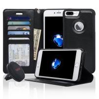 Navor Detachable Magnetic Wallet Case & Universal Car Mount Compatible for iPhone 7 Plus [RFID Theft Protection] JOOT-1L Series -Black