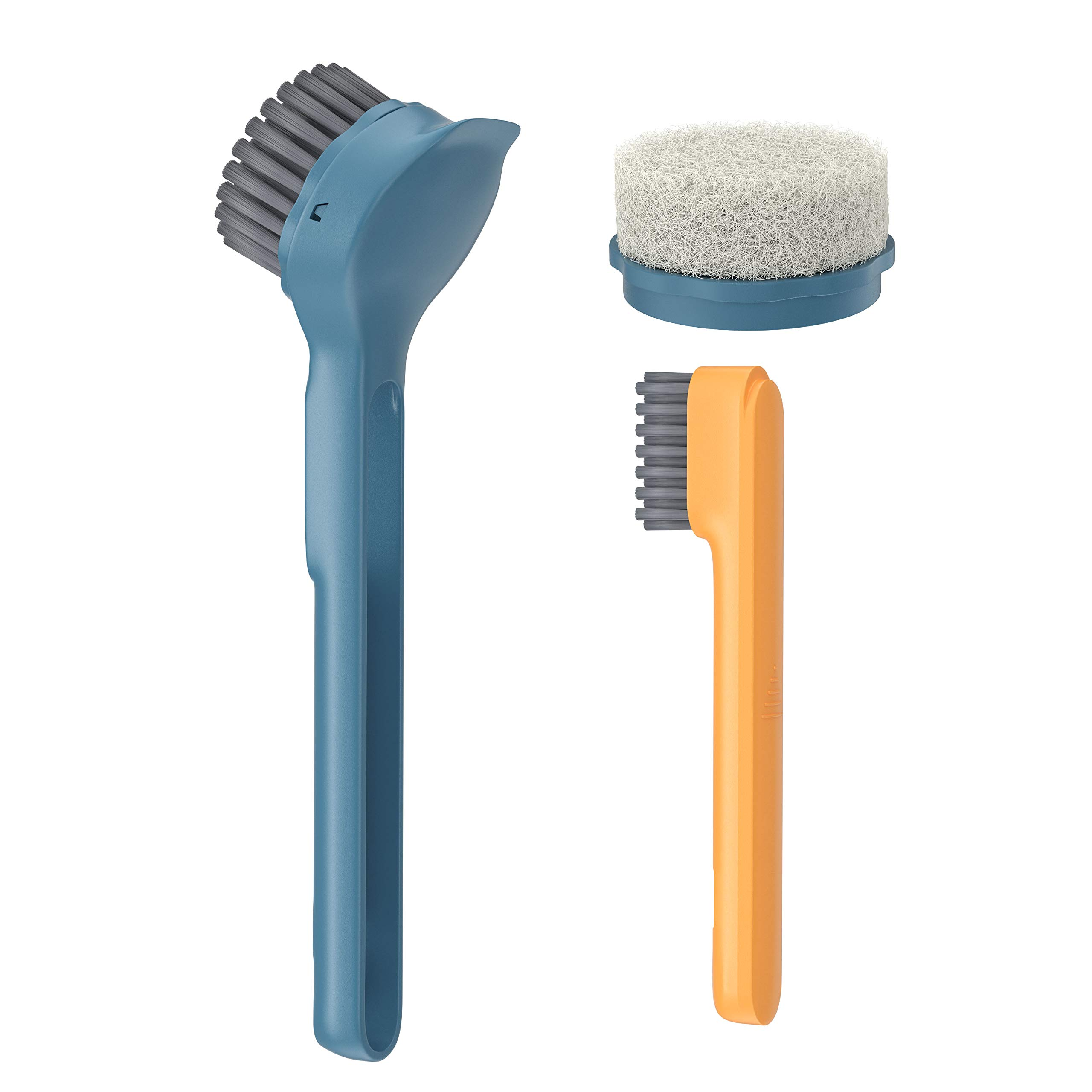 Kitchen Scrub Brush Sink Bathroom Brushes with Scraper Tip Comfortable Grip Bristles for Pot Pan Cast Iron Skillet Dishes Cleaning (Navy blue)