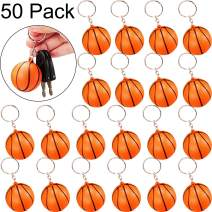Blulu 50 Pack Orange Basketball Keychains for Party Favors, School Carnival Reward, Party Bag Gift Fillers (Basketball Keychains, 50 Pack)