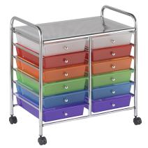 "ECR4Kids 12-Drawer Mobile Organizer, 25.75"" H, Assorted Colors"
