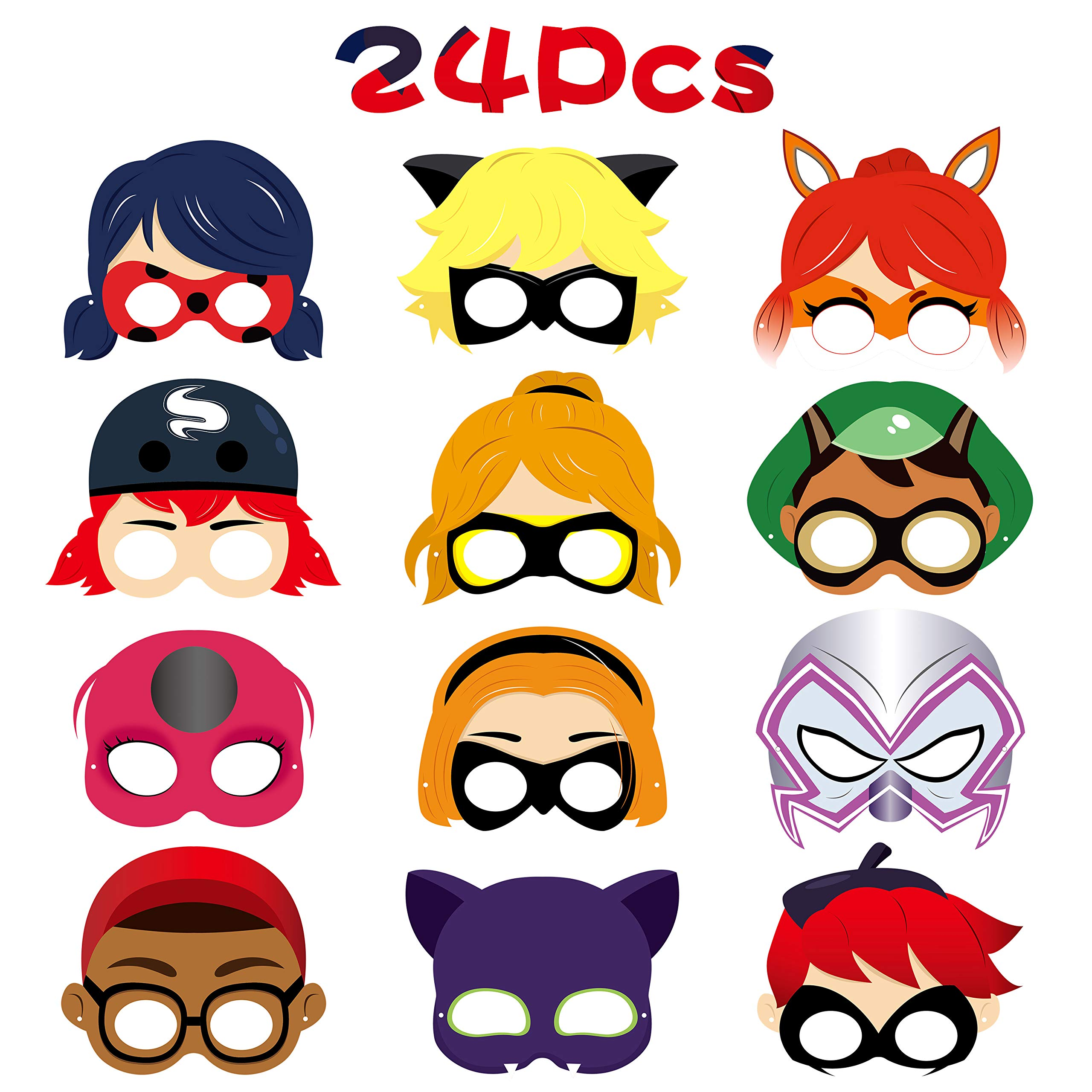 GROBRO7 24Pcs Ladybug Masks Ladybug Themed Party Supplies Birthday Party Favors Dress Up Costumes Mask Photo Booth Prop Cartoon Character Cosplay Pretend Play Accessories Gift for Kids Boys Girls
