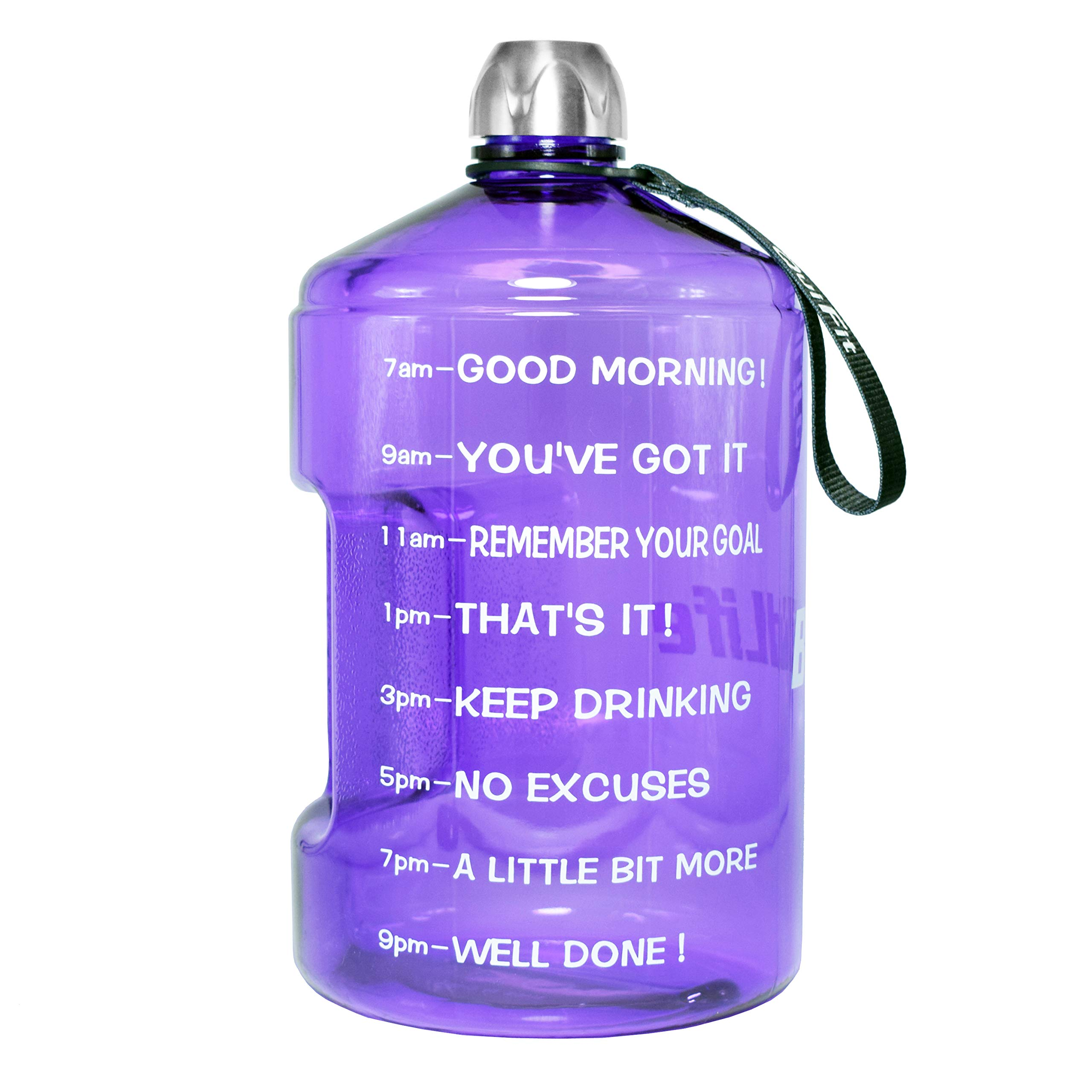 BuildLife 1 Gallon Water Bottle Motivational Fitness Workout with Time Marker