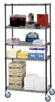 """21"""" Deep x 54"""" Wide x 60"""" High 5 Tier Black Wire Shelf Truck with 1200 lb Capacity"""