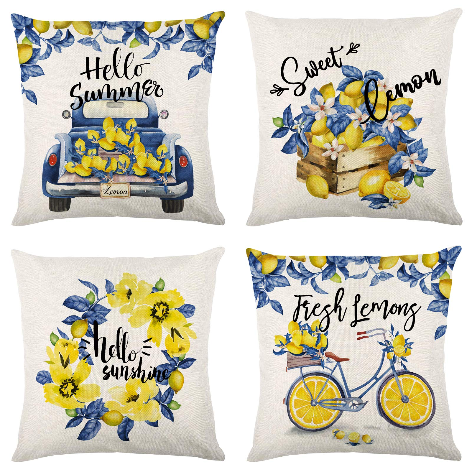 Molili Summer Pillow Covers 18x18 Inch Set of 4 Summer Decorations Lemon Truck Bike Yellow Flowers Throw Farmhouse Pillowcase Cushion Case for Summer Home Decor