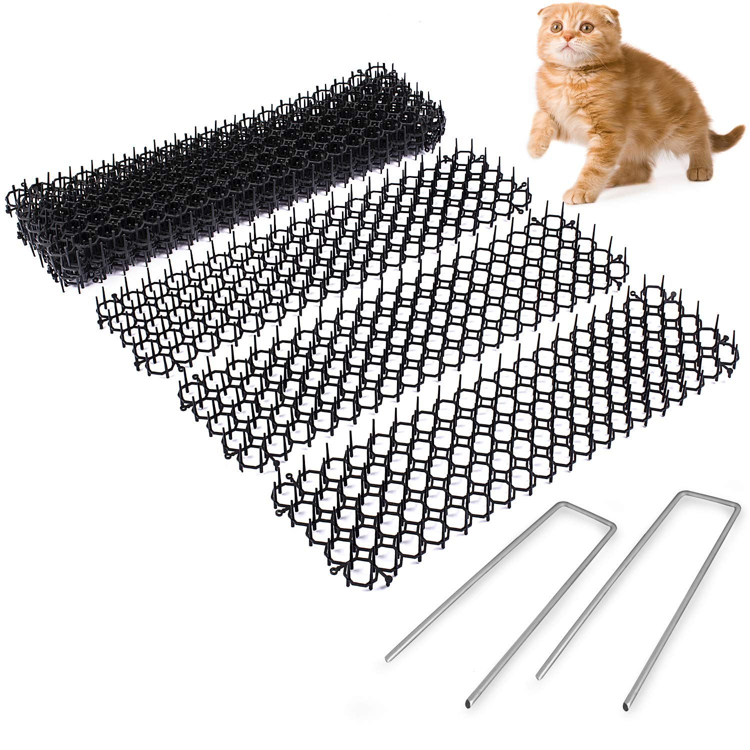 Abco Tech Cat Scat Spike (10 Strips) – Gentle Pet Deterrent for Cats, Dogs and More – Non-Toxic Humane and Effective Repellent – Easy to Install – Includes 12 Garden Staples